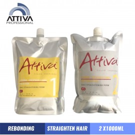 ATTIVA Rebonding Straightening Cream Step 1 and Step 2 1000 ML x 2  Krim Rebonding Meluruskan Rambut