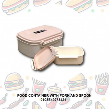 FOOD CONTAINER WITH FORK AND SPOON